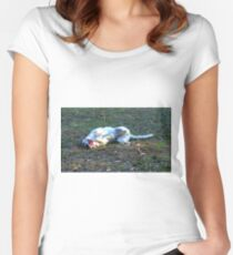 Lucky, one very happy dog ;)  Women's Fitted Scoop T-Shirt