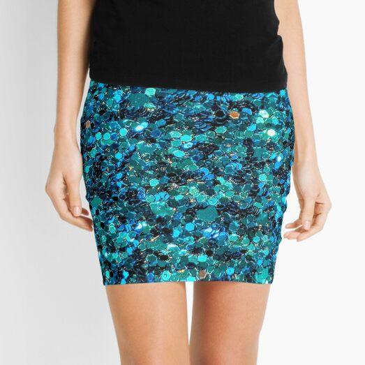 Turquoise Sparkling Sequins  Mini Skirt