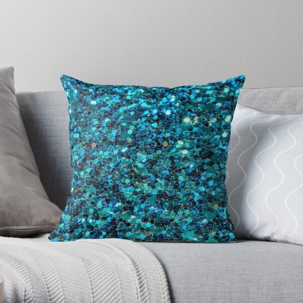 Turquoise Sparkling Sequins  Throw Pillow