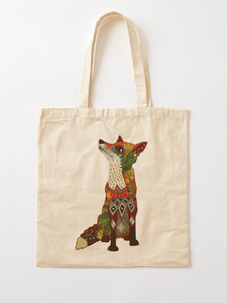 Alternate view of floral fox Tote Bag