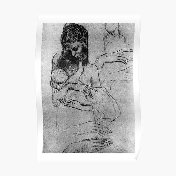 HIGH RESOLUTION Mother and Child Study Pablo Picasso Poster