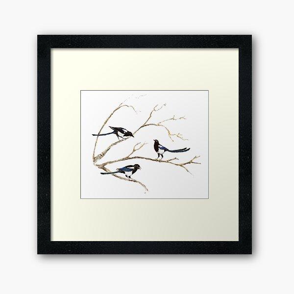 Watercolor Magpie Bird Family Framed Art Print