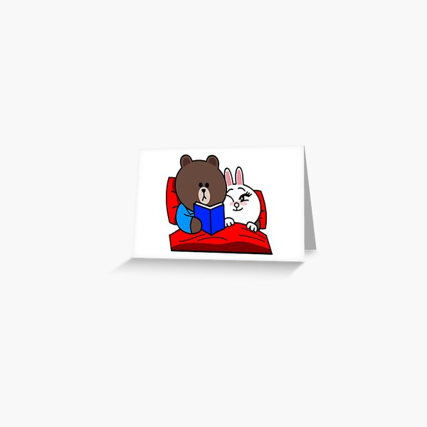 Cute Brown and Cony bedtime story Greeting Card