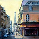 Eiffel Tower & Rue Saint Dominique Paris by marshstudio