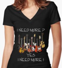 Wonderful Need More Guitars Women's Fitted V-Neck T-Shirt