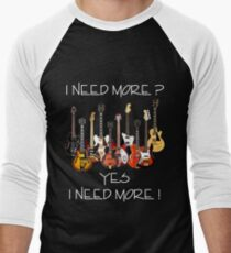 Wonderful Need More Guitars Men's Baseball ¾ T-Shirt