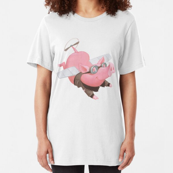 Flying Pig with Propeller Tail and WWII Bomber Jacket Slim Fit T-Shirt