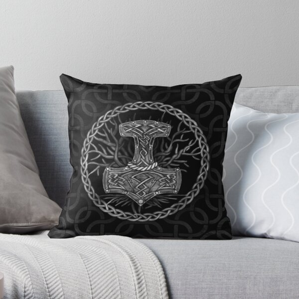 Mjolnir - The hammer of Thor and Tree of life Throw Pillow