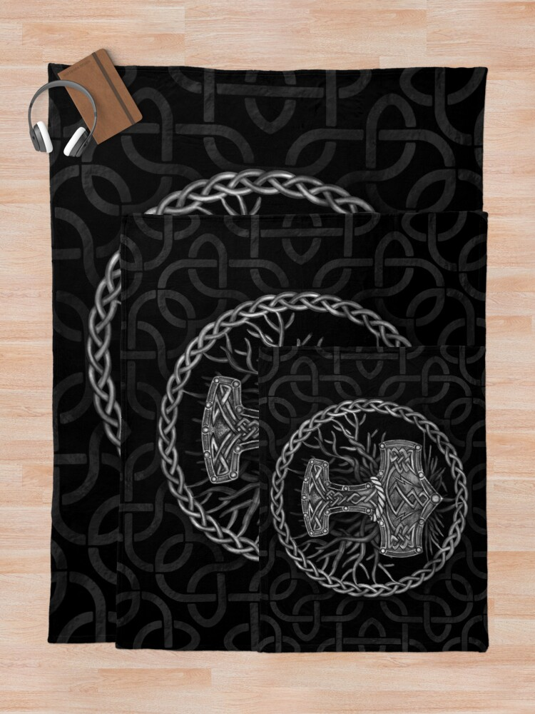 Alternate view of Mjolnir - The hammer of Thor and Tree of life Throw Blanket