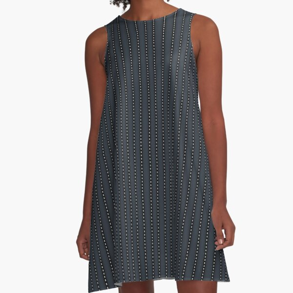 Grey Pinstripe pattern A-Line Dress
