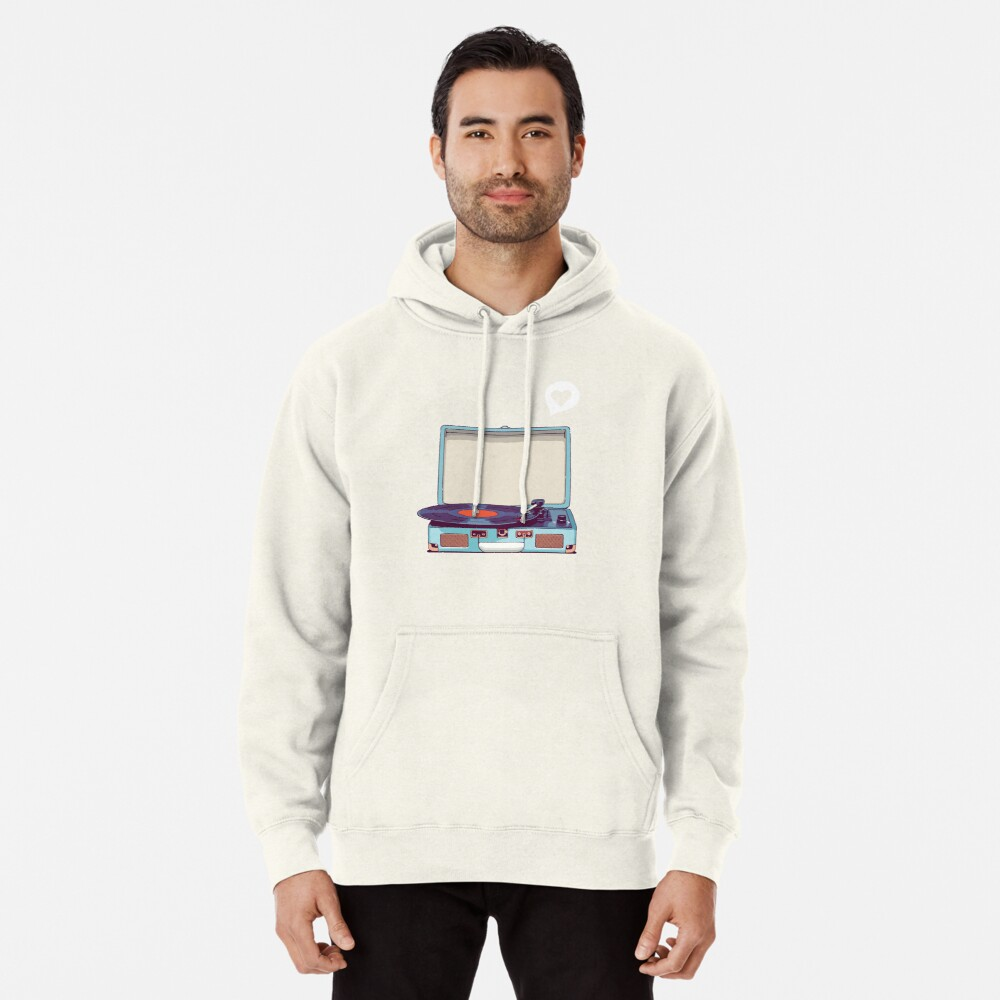 Blue Vinyl Record Player Pullover Hoodie