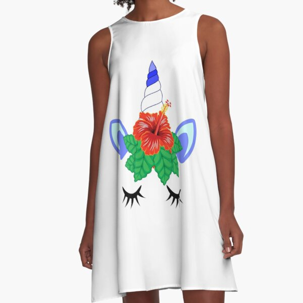 unicorn crown gumamela flower A-Line Dress
