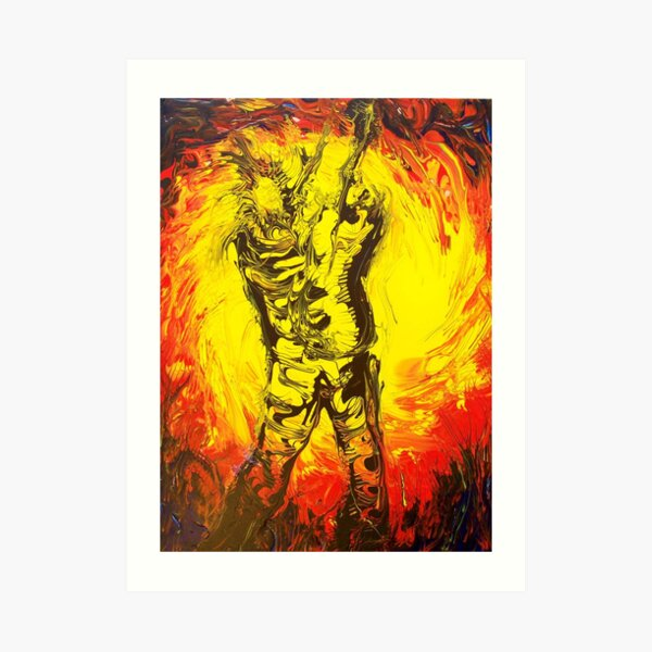Abstract Impressionism Guitar man Art Print