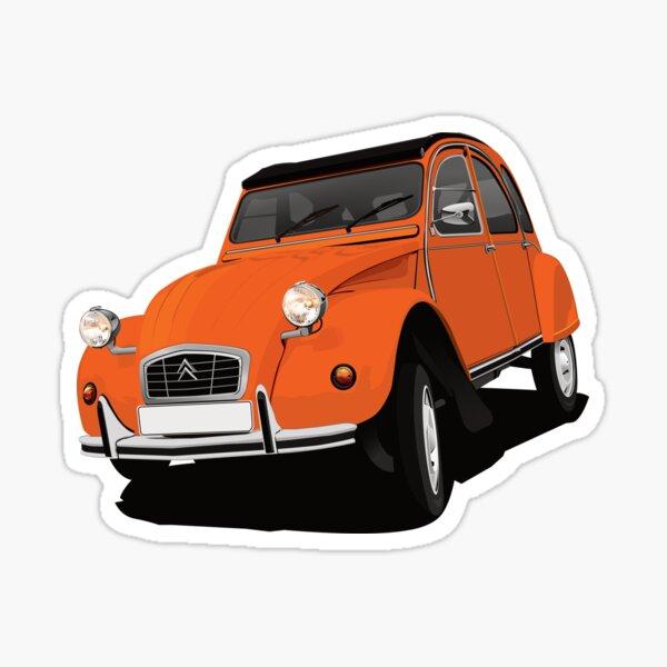 Citroen 2CV virage orange - illustration Sticker
