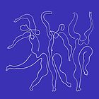 Picasso Line Art - Dancers - Blue Background by ShaMiLaB