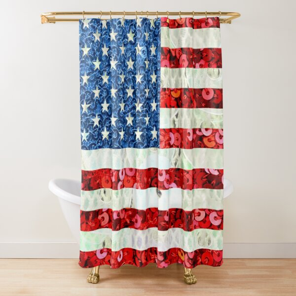 American Flag Sequin Glitter Look Patriotic USA Shower Curtain