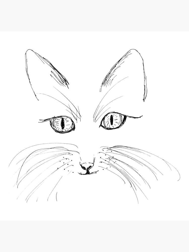 Hand Draw Cat Face Art Board Print By Jitkaegressy Redbubble
