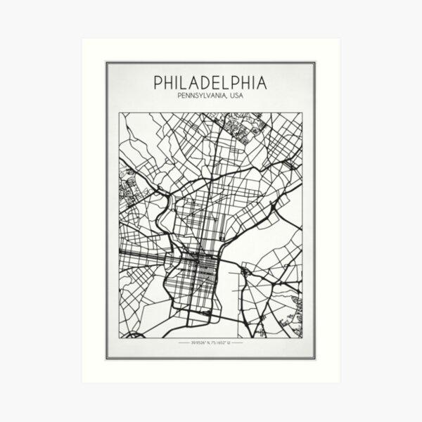 Mapa de calles de Filadelfia Lámina artística