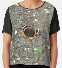 Merch #42 -- Red Admiral Butterfly Chiffon Top