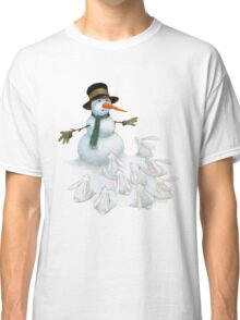 Snowman with Carrot Nose Facing Hungry Bunnies Classic T-Shirt