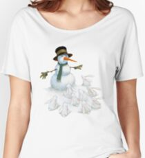 Snowman with Carrot Nose Facing Hungry Bunnies Women's Relaxed Fit T-Shirt