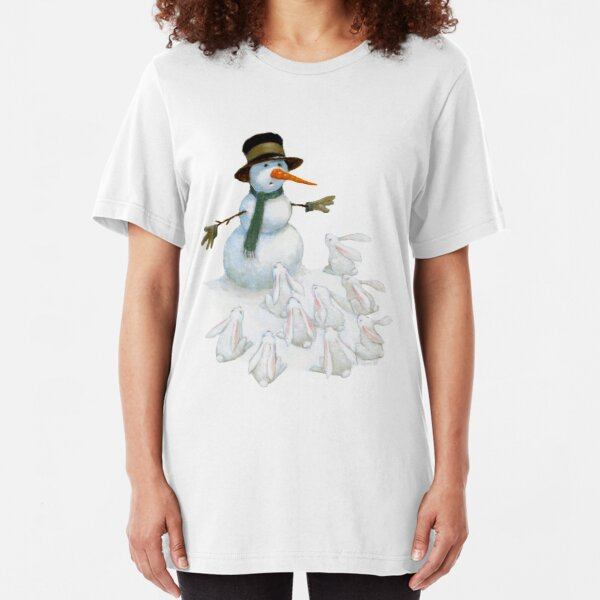 Snowman with Carrot Nose Facing Hungry Bunnies Slim Fit T-Shirt