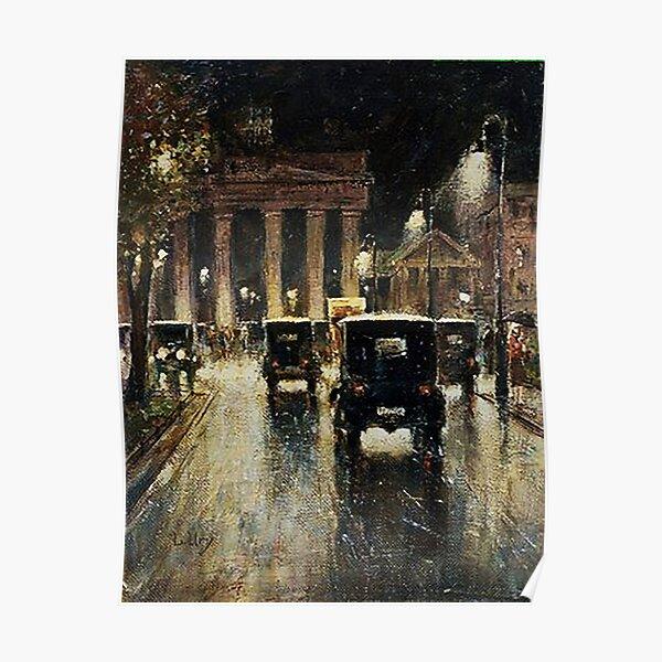 Berlin Brandenburg Gate, a rainy night.1920s Poster