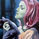 Öl auf Leinwand, 'Frau mit Katze', 2008 von KlausHalfar