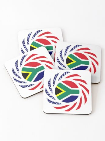 South African American Multinational Patriot Flag Series Coasters