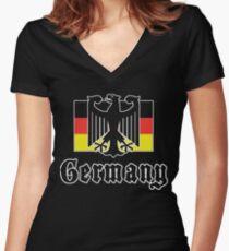 Germany Flag Women's Fitted V-Neck T-Shirt