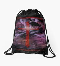 Goth Effect Raven and Cross Drawstring Bag