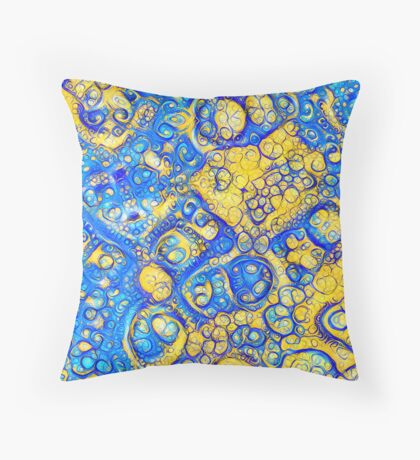 Yellow and Blue abstraction Floor Pillow