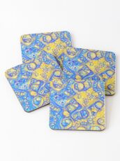 Yellow and Blue abstraction Coasters