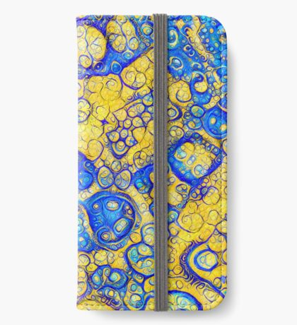 Yellow and Blue abstraction iPhone Wallet