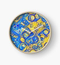 Yellow and Blue abstraction Clock