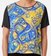 Yellow and Blue abstraction Chiffon Top