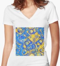 Yellow and Blue abstraction Fitted V-Neck T-Shirt
