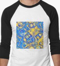 Yellow and Blue abstraction Baseball ¾ Sleeve T-Shirt