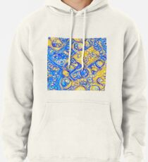 Yellow and Blue abstraction Pullover Hoodie
