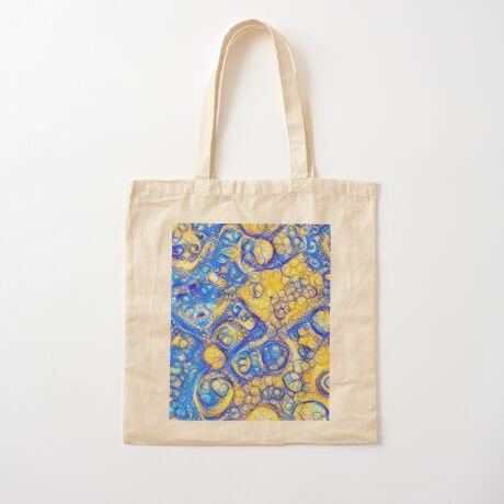 Yellow and Blue abstraction Cotton Tote Bag