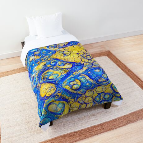 Yellow and Blue abstraction Comforter