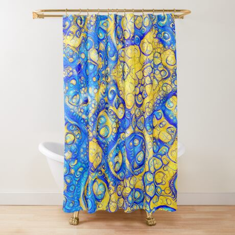 Yellow and Blue abstraction Shower Curtain