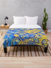 Yellow and Blue abstraction Throw Blanket