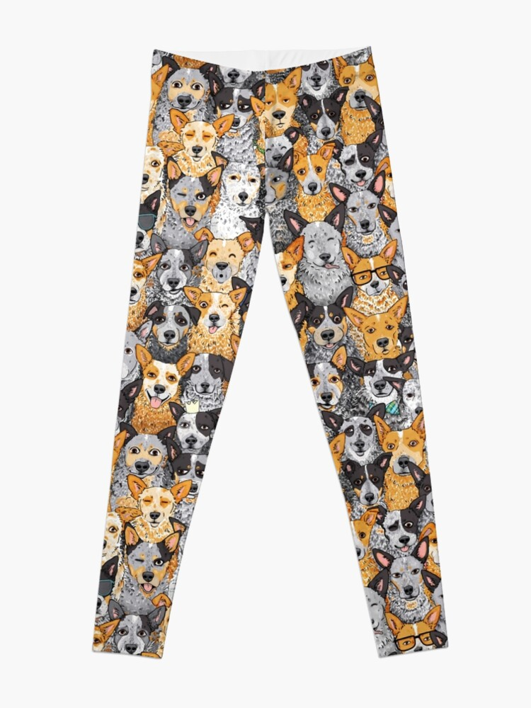 Alternate view of Cattle Dog Mixed Expressions, by Artwork by AK Leggings
