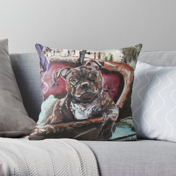 English Staffordshire Bull Terrier Throw Pillow