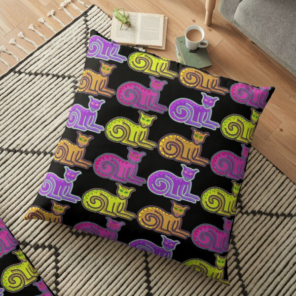 Grinning Kitty Party Floor Pillow