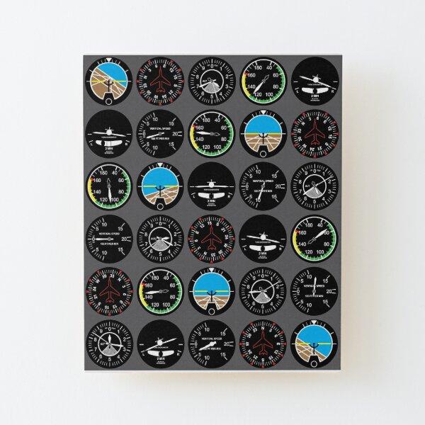 Flight Instruments Wood Mounted Print