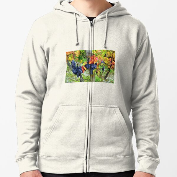 Colorful grapes and vines from the French Alps Zipped Hoodie