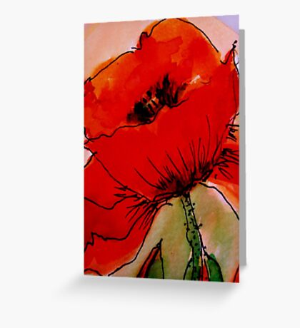 Large Red Poppy Greeting Card