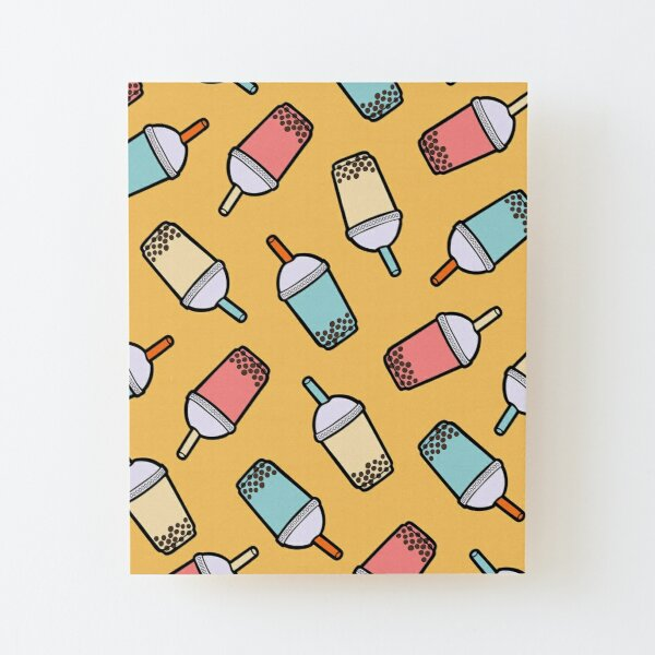 Bubble Tea Pattern Wood Mounted Print